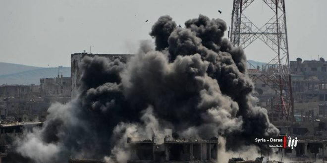 إحصائية: نظام الأسد أباد درعا بأكثر من 1200 برميل متفجر خلال شهر واحد