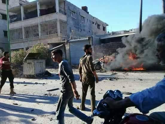 ضحايا نتيجة انفجار سيارة مفخخة في مدينة معرة النعمان جنوب إدلب