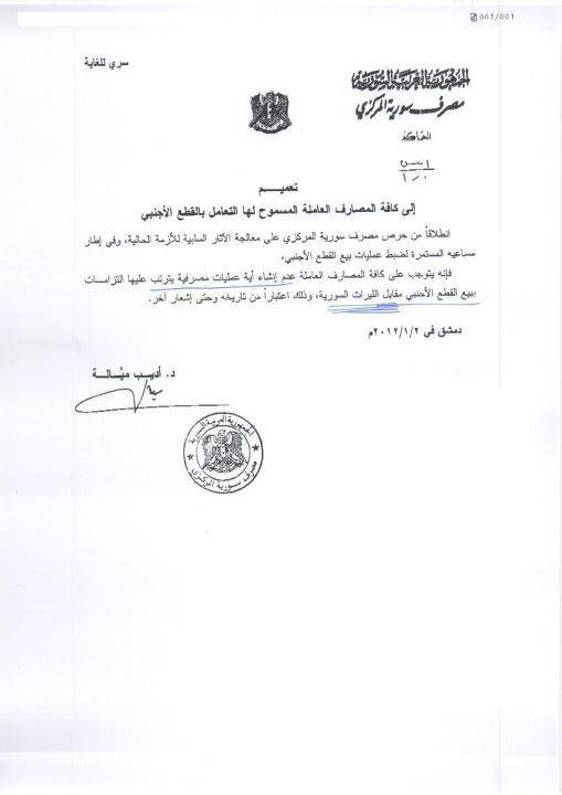 مصرف سورية المركزي يوقف صرف العملات الأجنبية