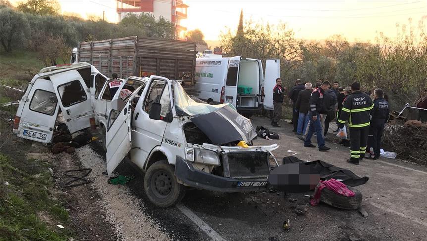 حادث مروري يودي بحياة 10 سوريين  في هاتاي جنوب تركيا