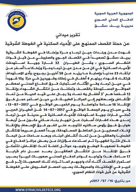 23 شهيداً و50 مصاباً في الغوطة الشرقية خلال يومين