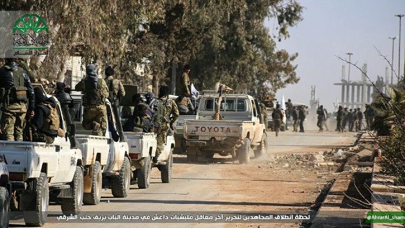 الجيش الحر يحرر قباسين وبزاعة ويطرد التنظيم من آخر معاقله