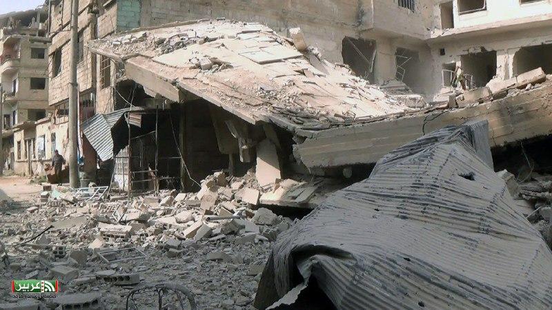 قصف جنوني على الأحياء المحررة في دمشق.. 23 غارة على حي جوبر منذ الصباح