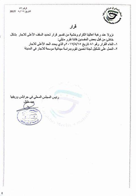 محلي جرابلس يلغي قرار تحديد سقف الإيجار، ويتجه لتشكيل لجنة استقصائية