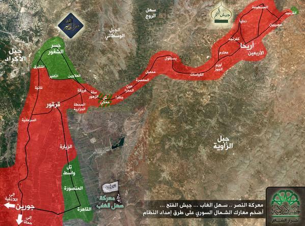 خمسة كيلومترات تفصل بين الثوار في إدلب وحماة .. سهل الغاب يتحرر