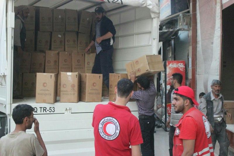 قافلة مساعدات أممية تدخل مدينة حرستا في الغوطة الشرقية عصر اليوم