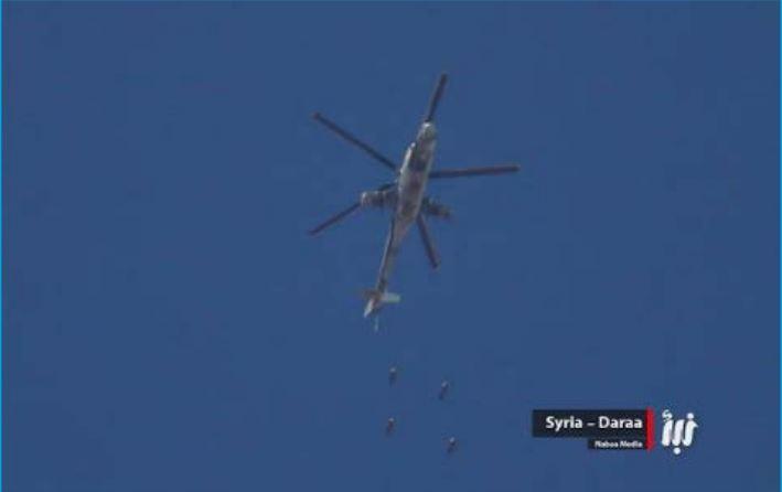 تقرير: مروحيات النظام أسقطت أكثر من 4 آلاف برميل متفجر منذ مطلع 2017 ، نصفها في درعا
