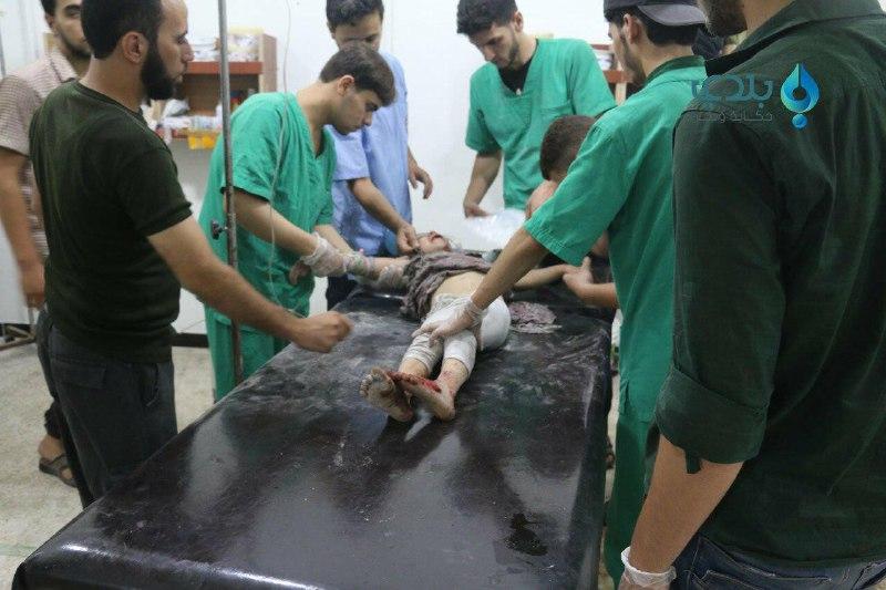 عشرات الشهداء والجرحى في مجزرة للطيران الروسي في عربين بريف دمشق