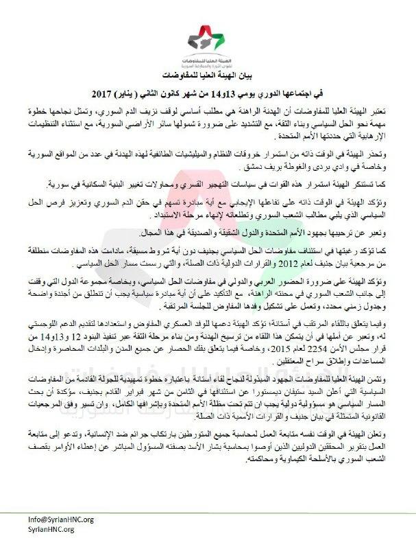 الهيئة العليا للمفاوضات تؤكد دعمها للوفد العسكري المفاوض في