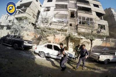 قوات الأسد تقصف مدينة دوما بالغوطة الشرقية بقذائف الهاون وصواريخ أرض أرض