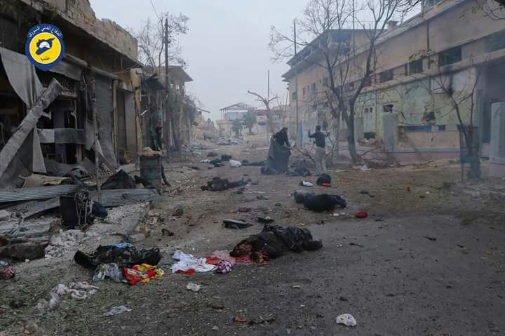 مقتل 45 شخصاً بقصف قوات الأسد عائلات نازحة في حي جب القبة