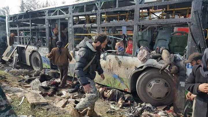 100 قتيل و55 مصاباً.. الحصيلة الأولية لتفجير حافلات الفوعة وكفريا، والروايات تعزز فرضية وقوف النظام خلف التفجير